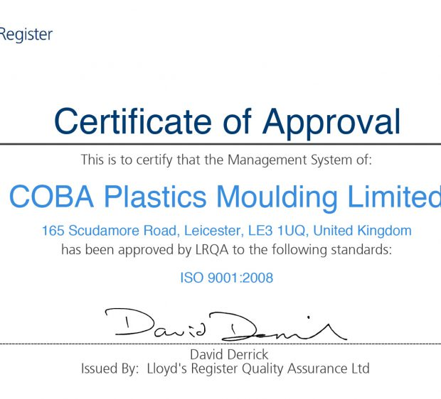 Certificate 4001694 9001 COBA Plastics Moulding Limited